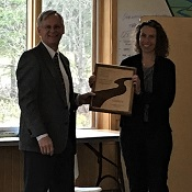 Jena receiving award from RMS Alaska Chapter President Dave Schade