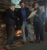 Ken receiving award from past RMS President Jim MacCartney, RMS NE Chapter officer Lelia Mellen